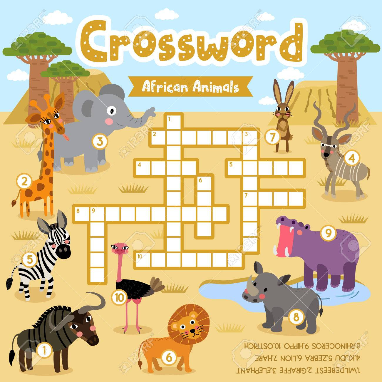 Crosswords Puzzle Game Of African Animals For Preschool Kids - Printable Animal Puzzle