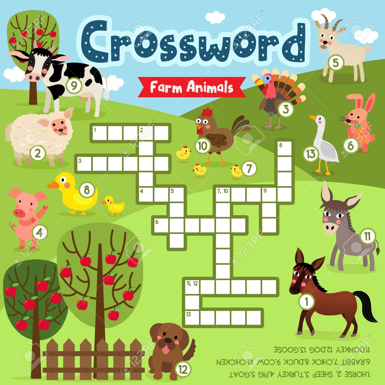 Crosswords Puzzle Game Of Farm Animals For Preschool Kids Activity - Printable Animal Puzzle