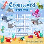 Crosswords Puzzle Game Of Ocean Animals For Preschool Kids Activity..   Printable Ocean Crossword Puzzles