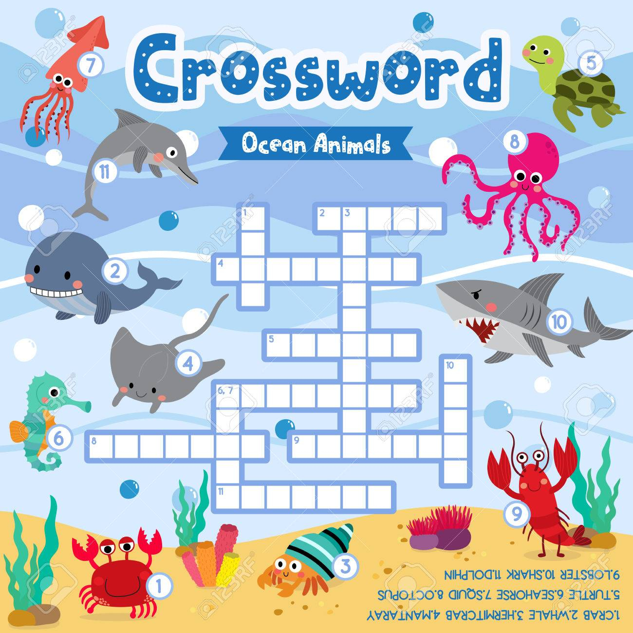 Crosswords Puzzle Game Of Ocean Animals For Preschool Kids Activity.. - Printable Ocean Crossword Puzzles