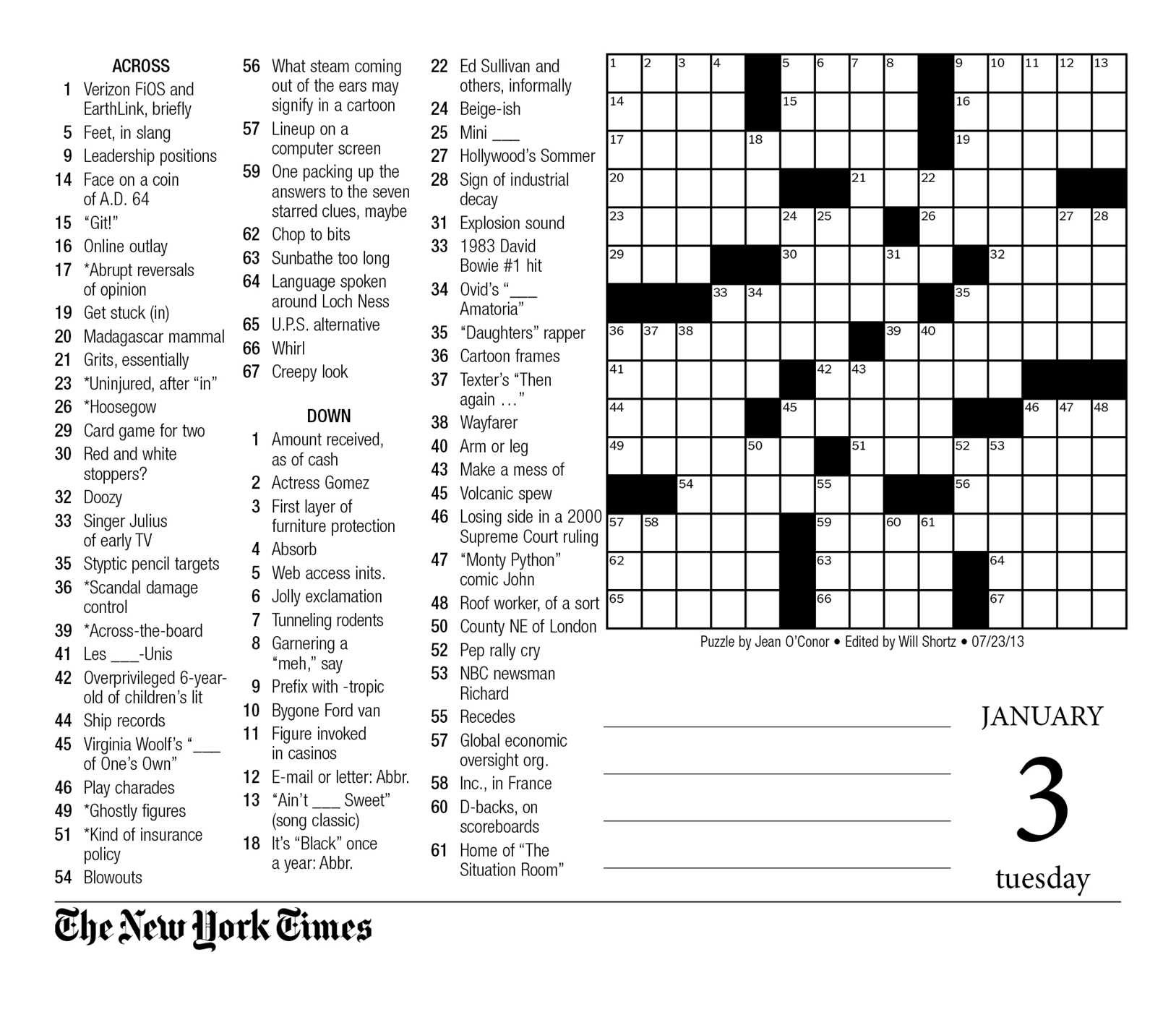 This is a photo of Exceptional Printable New York Times Crossword