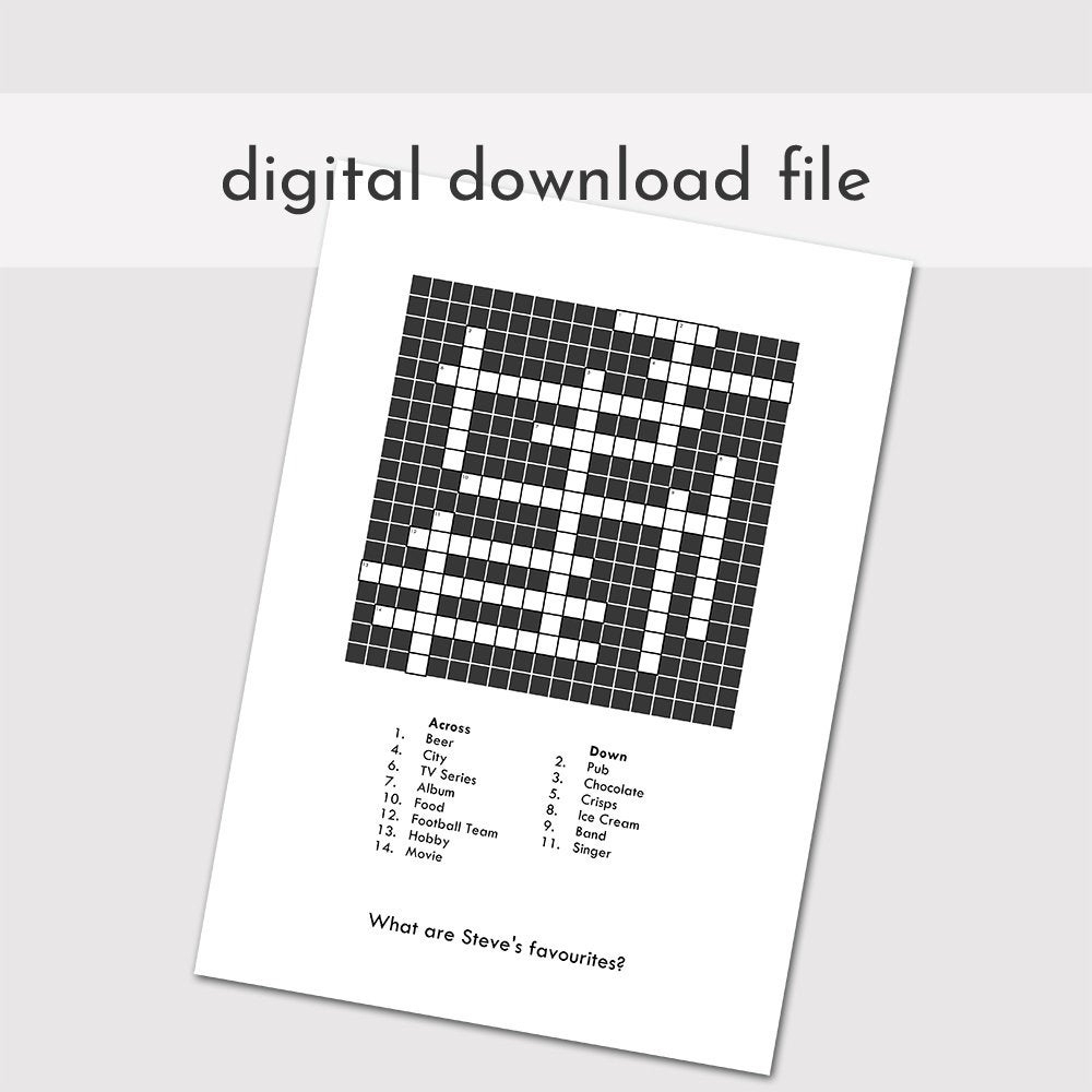 Custom Crossword Puzzle Printable Blank Crossword Digital | Etsy - Printable Blank Crossword Puzzles