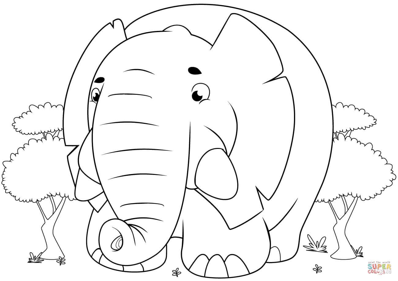 Cute Cartoon Elephant Coloring Page | Free Printable Coloring Pages - Printable Elephant Puzzle
