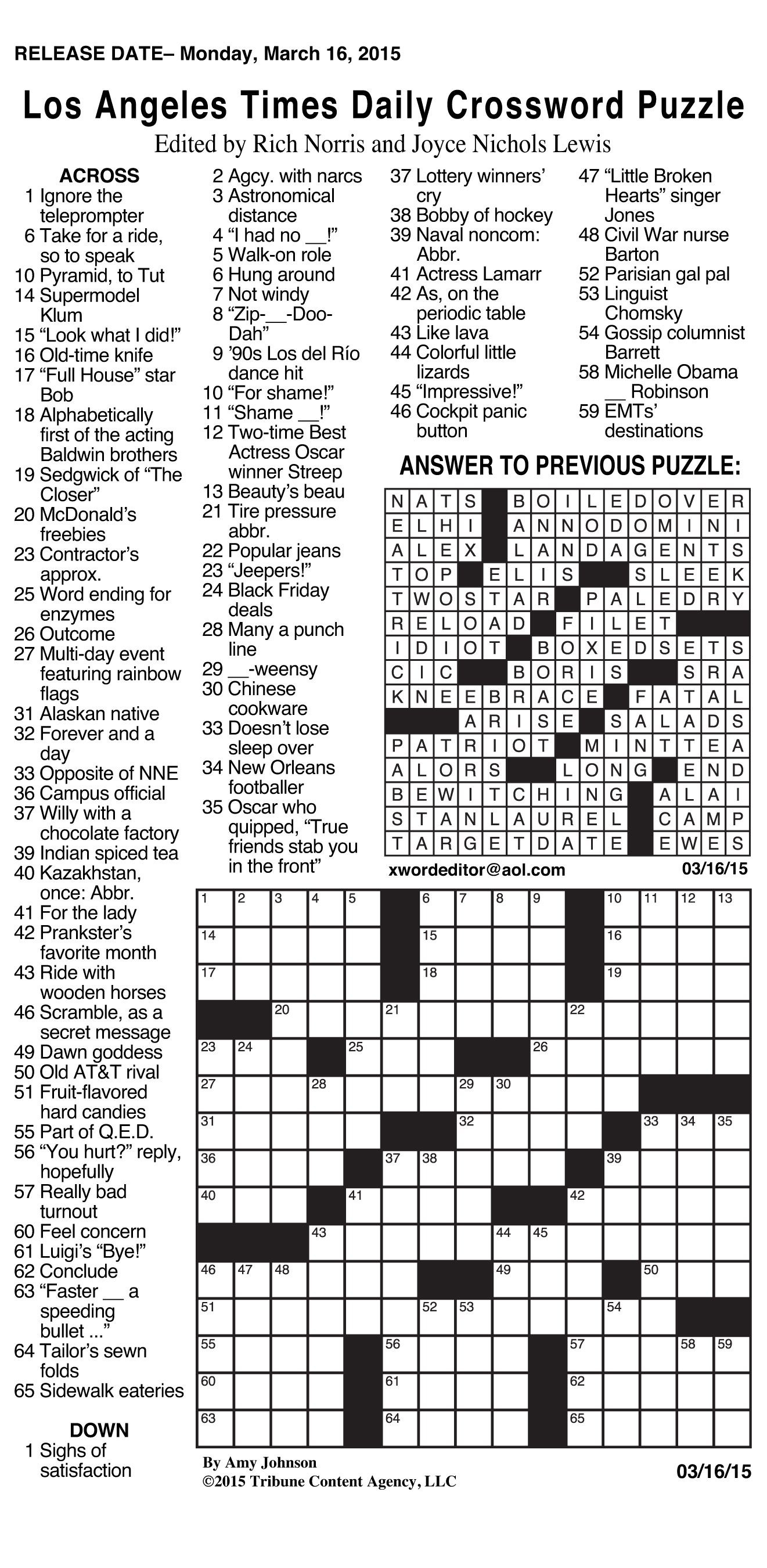 Daily Crossword Puzzle Printable – Jowo - Free La Times Crossword - Printable Times Crossword Puzzles