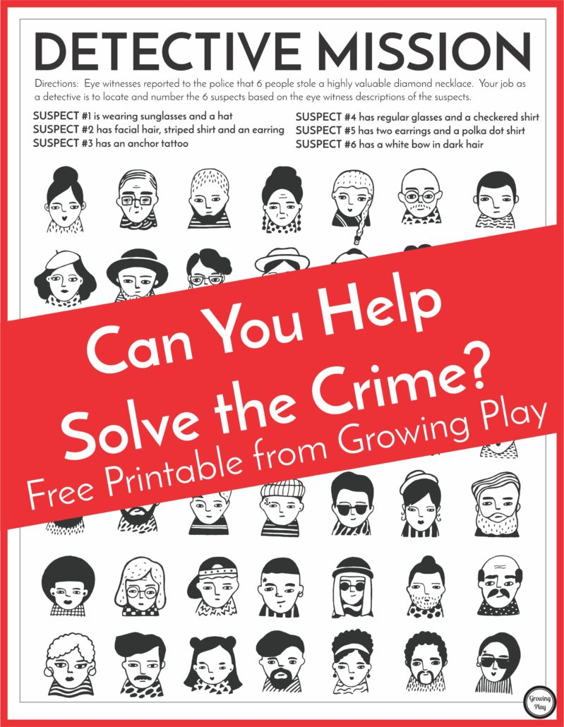 Detective Puzzle For Kids - Free Printable - Growing Play - Printable Mystery Puzzles