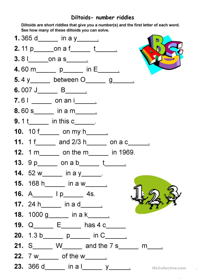 Diltoids- Number/letter Puzzles Worksheet - Free Esl Printable - Printable Puzzles In English