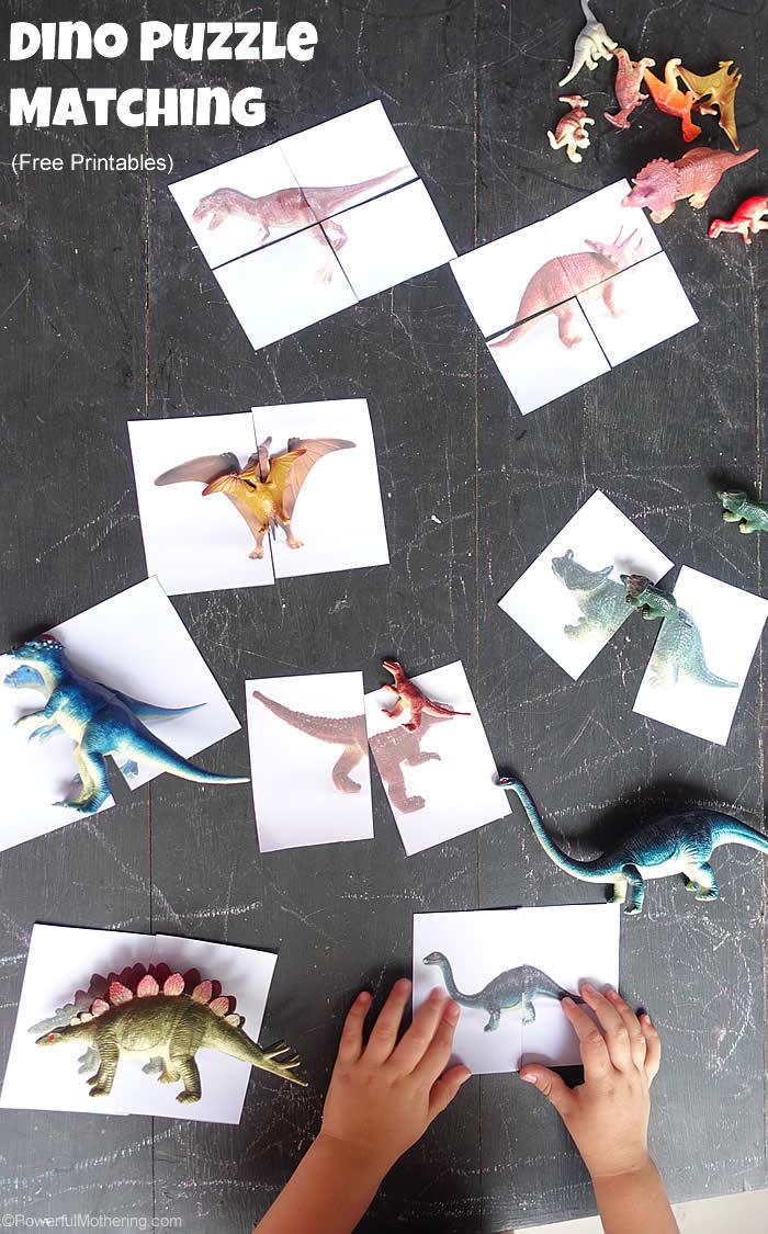 Dinosaur Matching Puzzle (Free Printable) - Printable Matching Puzzle