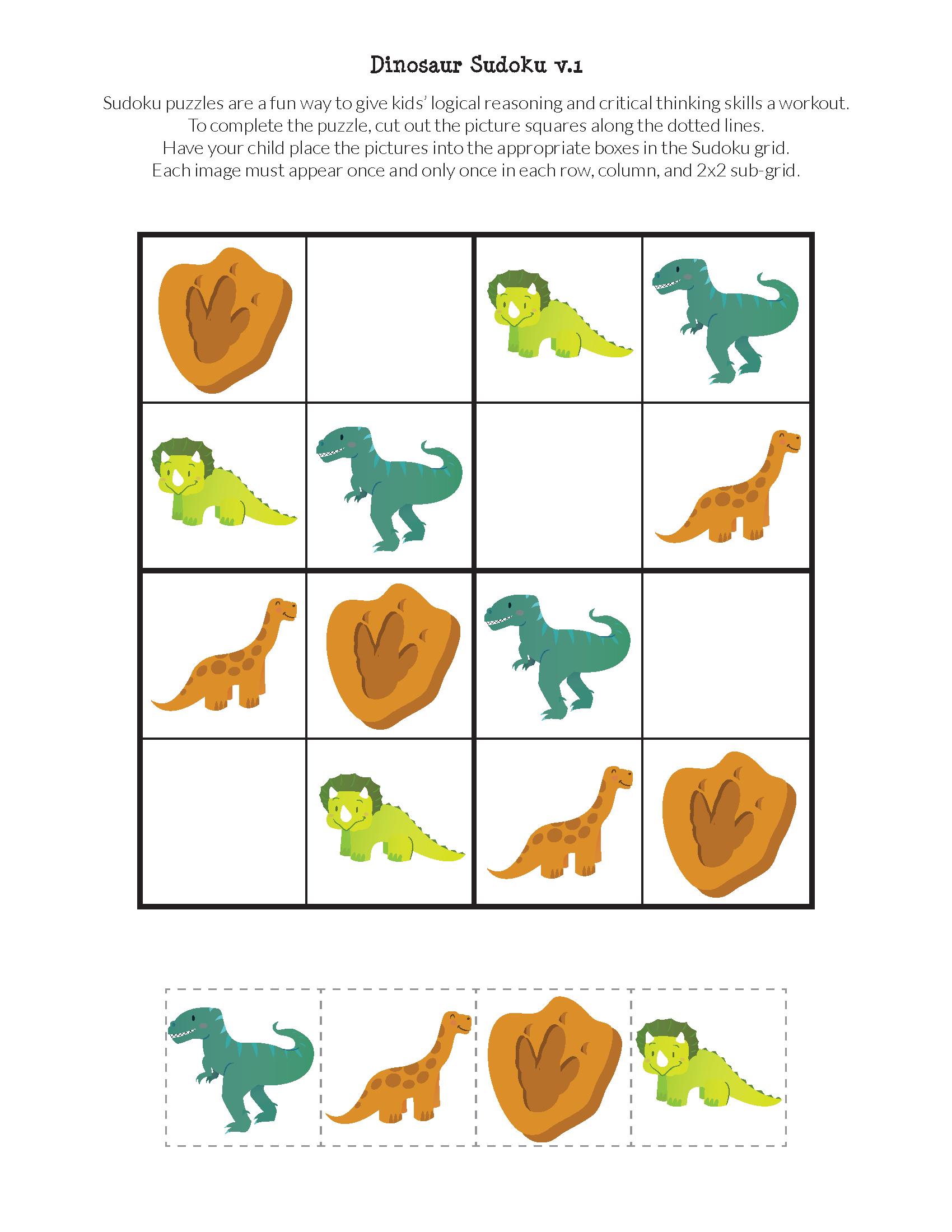 Dinosaur Sudoku Puzzles {Free Printables}   Education Ideas   Sudoku - Printable Dinosaur Puzzle