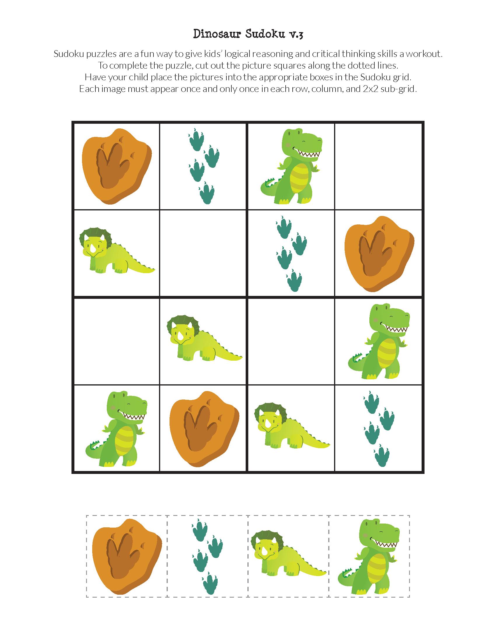 Dinosaur Sudoku Puzzles {Free Printables} - Gift Of Curiosity - Printable Dinosaur Puzzle