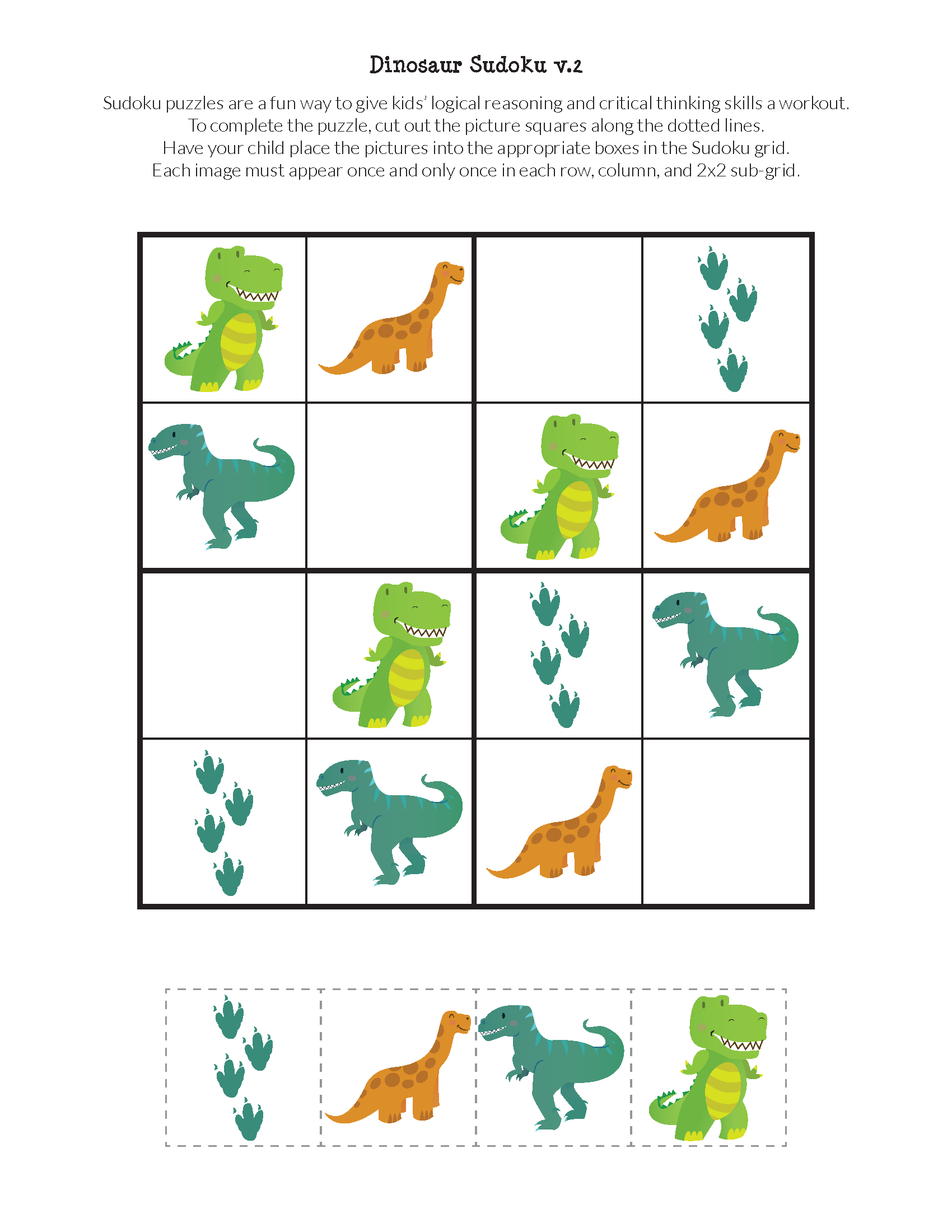 Dinosaur Sudoku Puzzles {Free Printables}   Sudoku   Sudoku Puzzles - Printable Dinosaur Puzzle