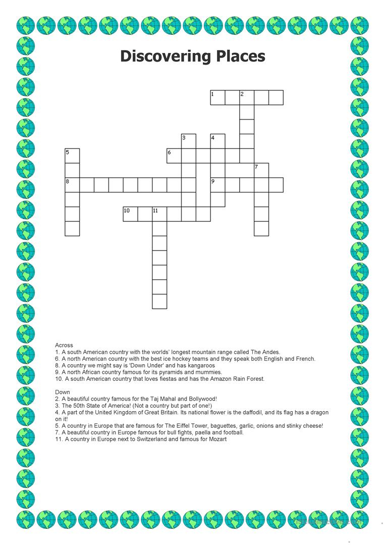 Discovering Places - Crossword Worksheet - Free Esl Printable - Printable Hockey Crossword
