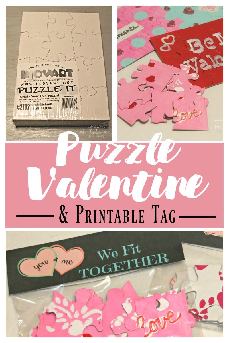 Diy Puzzle Valentine - What Treasures Await - Printable Diy Puzzle