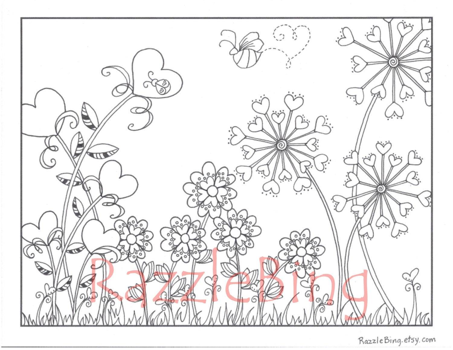 Diy Valentine's Day Printable Coloring Page-Zentangle | Etsy - Printable Razzle Puzzles
