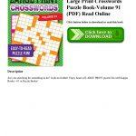 Download Ebook Large Print Crosswords Puzzle Book Volume 91 (Pdf   Printable Puzzle Book Pdf