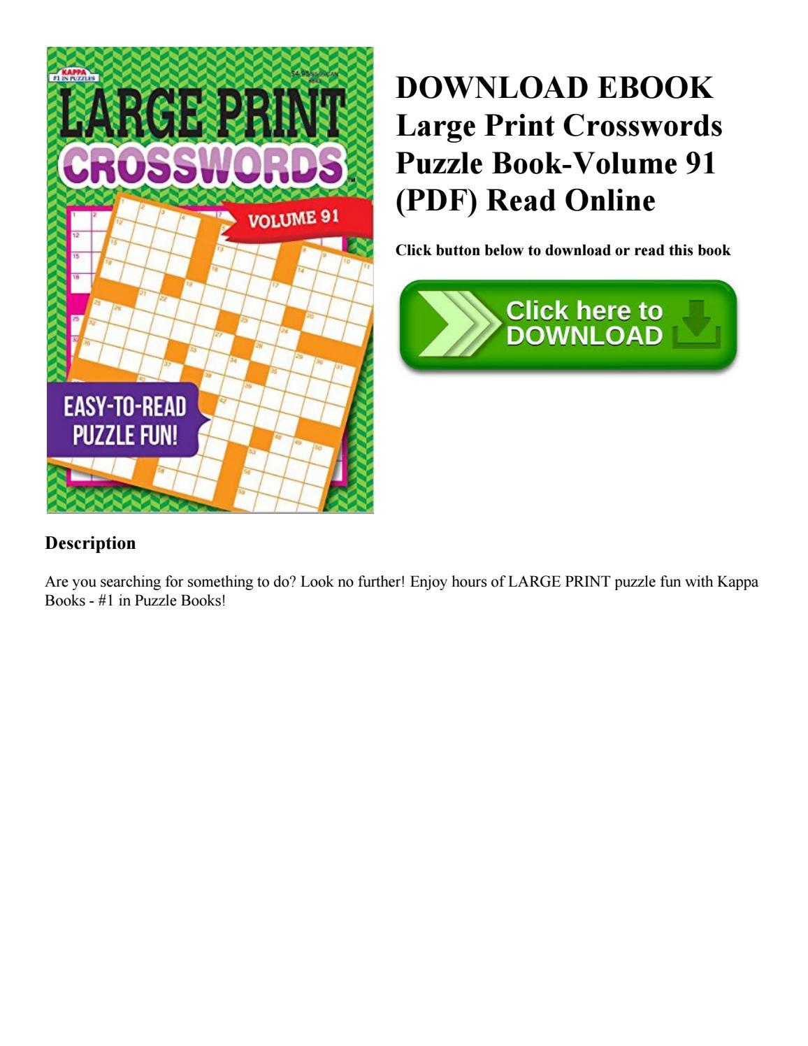 Download Ebook Large Print Crosswords Puzzle Book Volume 91 (Pdf - Printable Puzzle Book Pdf