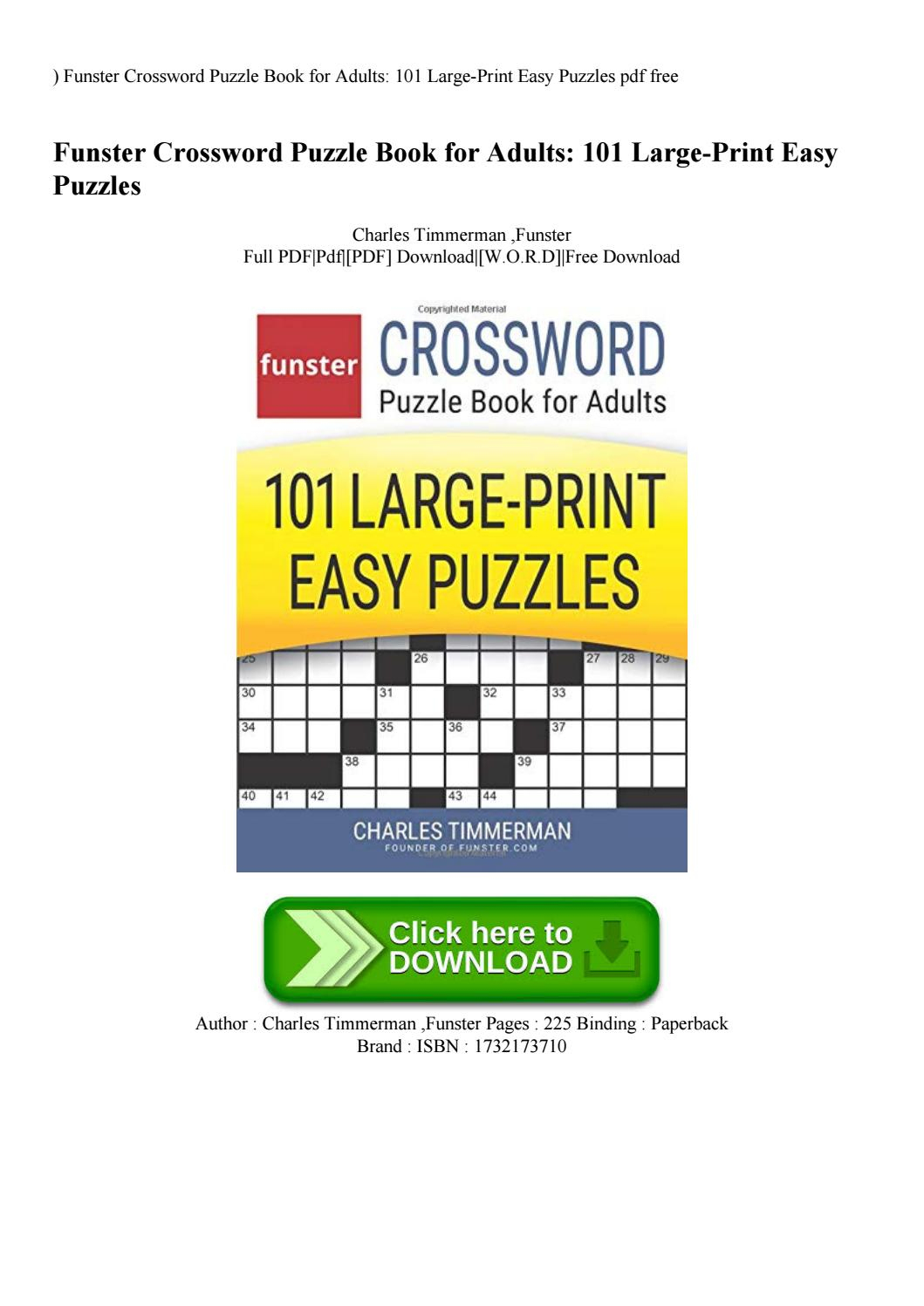 Download-Pdf) Funster Crossword Puzzle Book For Adults 101 Large - Printable Puzzle Book Pdf