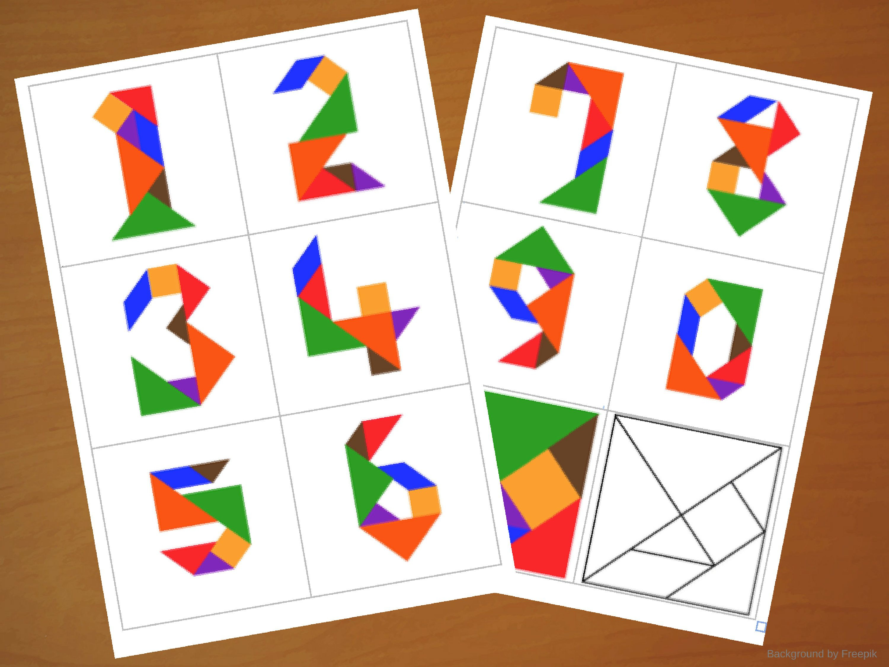 Downloadable Tangram Cards - Tangram Numbers - Tangram Puzzles - 7 Piece Tangram Puzzle Printable