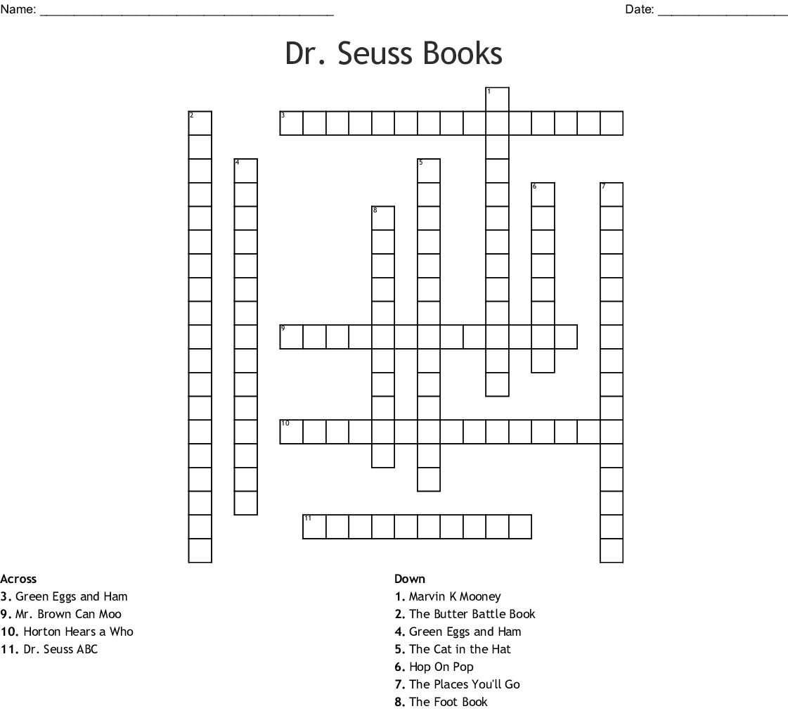 Dr. Seuss Books Crossword - Wordmint - Dr Seuss Crossword Puzzle Printable