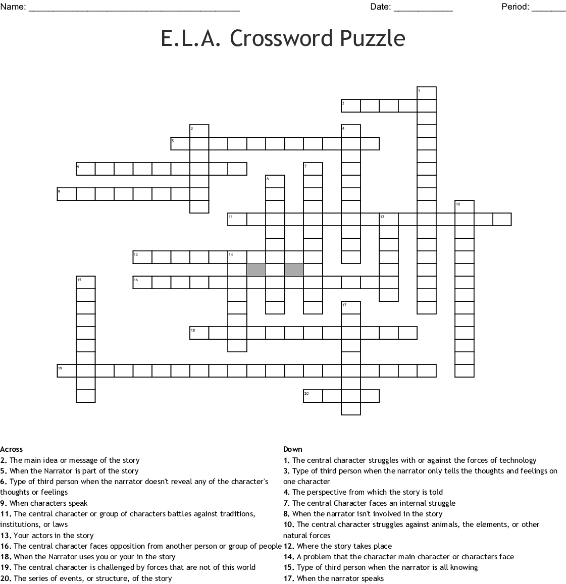 E.l.a. Crossword Puzzle Crossword - Wordmint - Printable Ela Puzzles