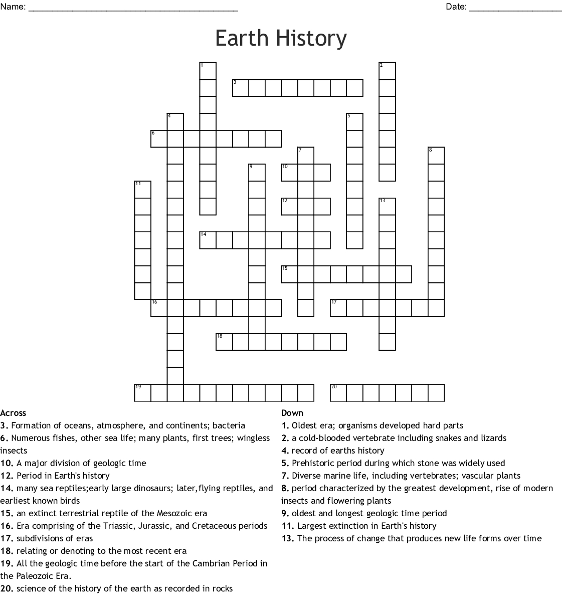 Earth History Crossword - Wordmint - Printable History Crossword Puzzle