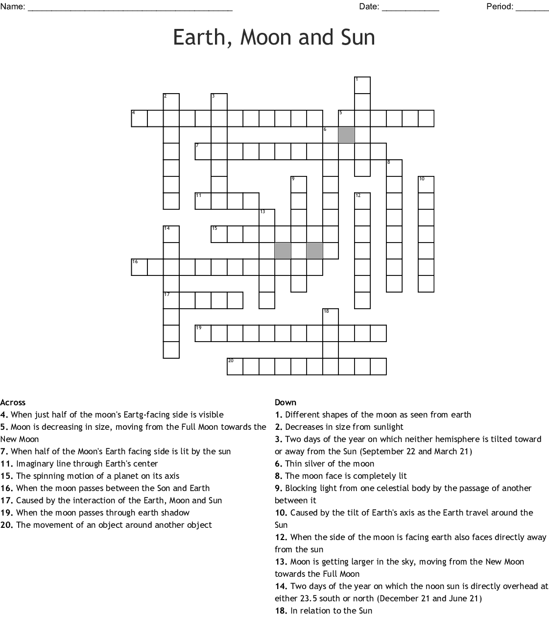 Earth, Moon And Sun Crossword - Wordmint - Printable Crosswords The Sun