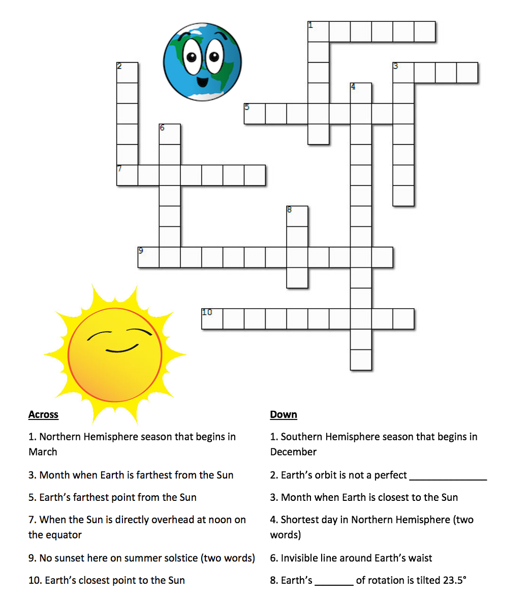 Earth's Seasons And The Sun: A Crossword Puzzle | Nasa - Sun Crossword Printable Version