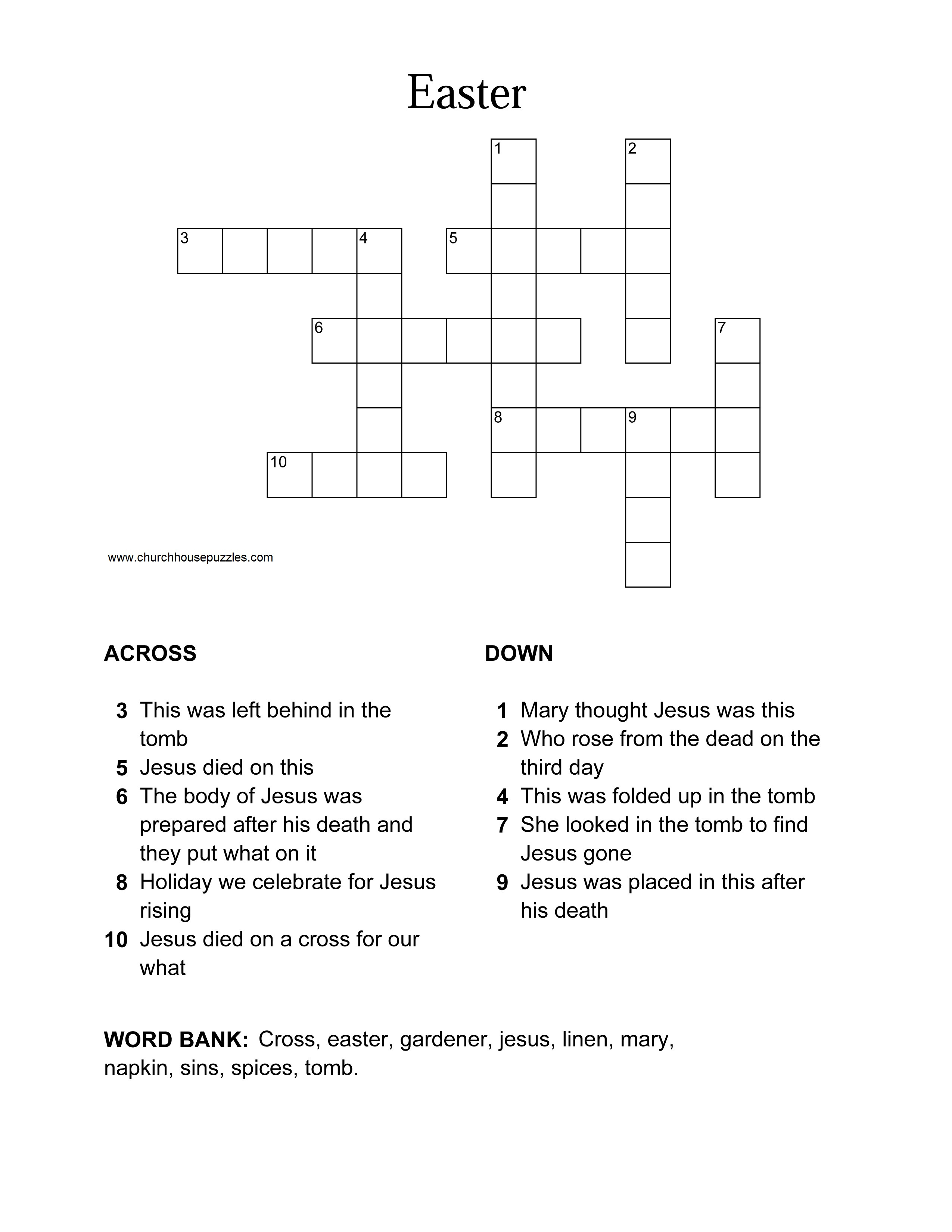 Easter Crossword Puzzle - Printable Crossword Puzzles Easter