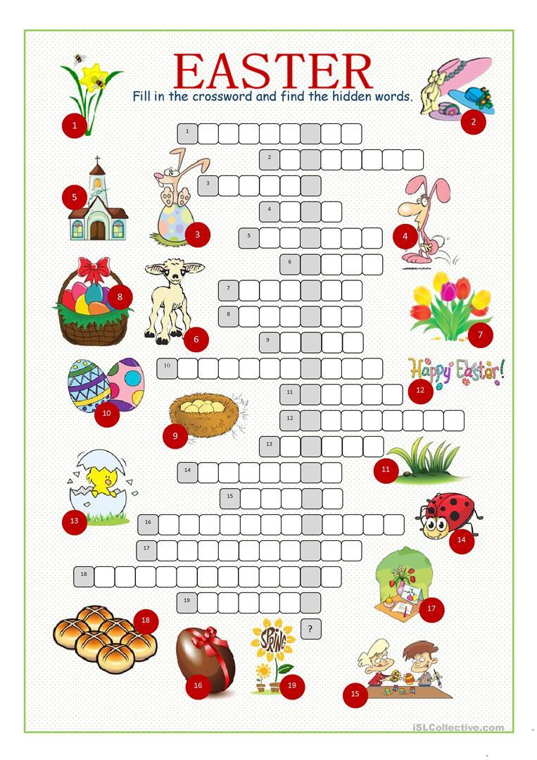 Easter Crossword Puzzle Worksheet - Free Esl Printable Worksheets - Printable Crossword Easter