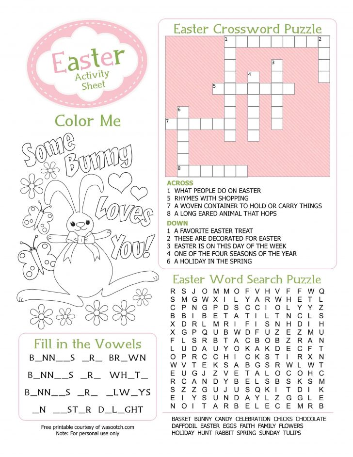 Easter Crossword Puzzle Printable Worksheets