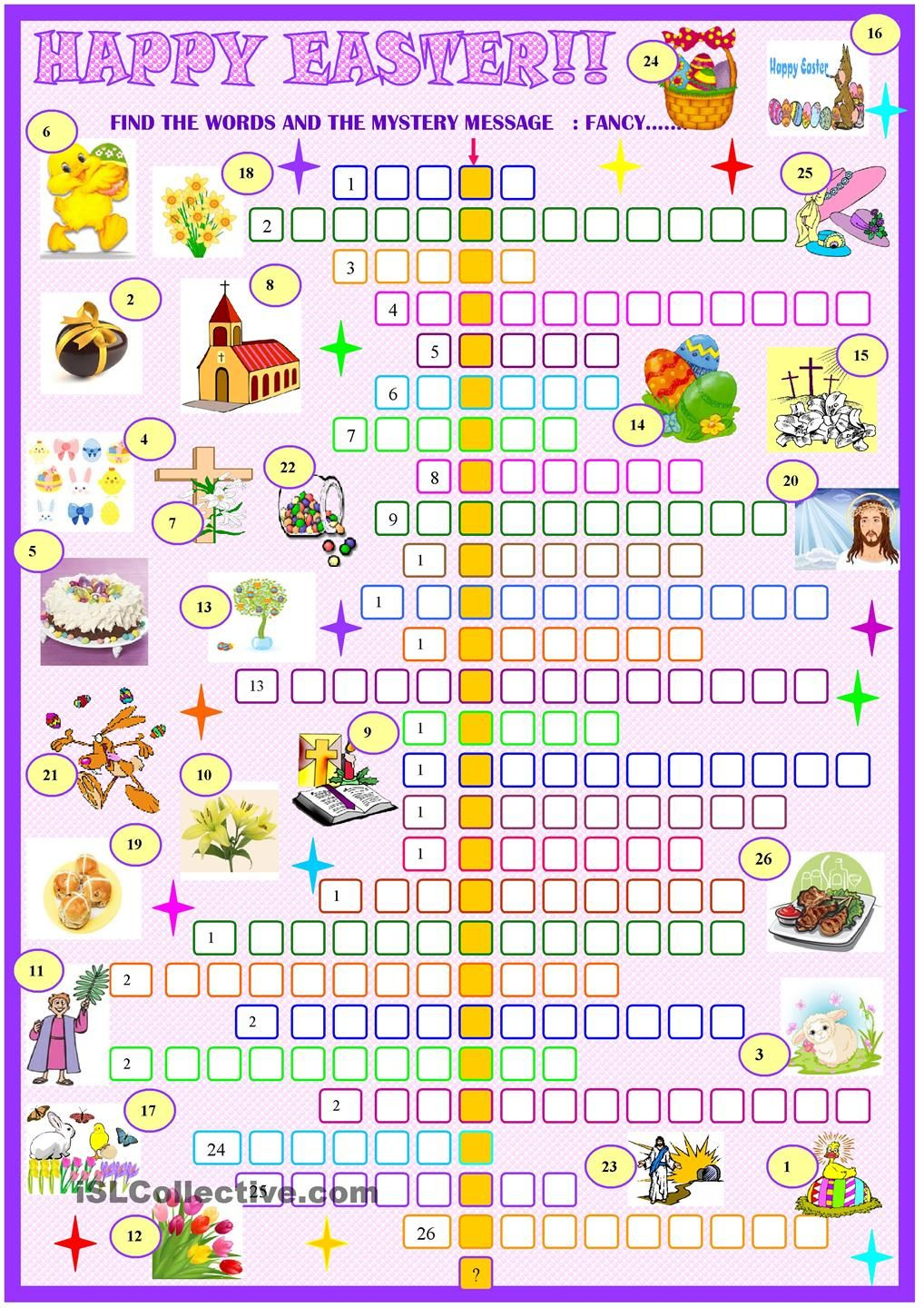 Easter:crossword Puzzle. Esl Worksheet Of The Day - Easter Crossword Puzzle Printable Worksheets