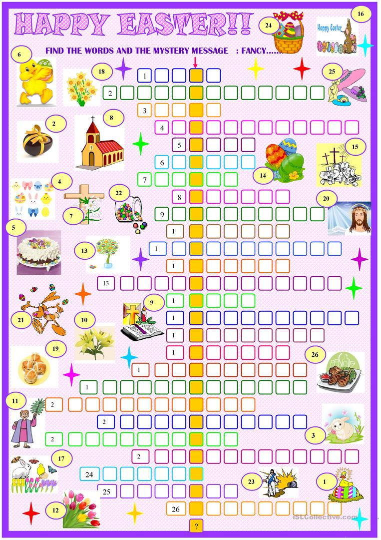 Easter:crossword Puzzle With Key Worksheet - Free Esl Printable - Printable Easter Puzzle