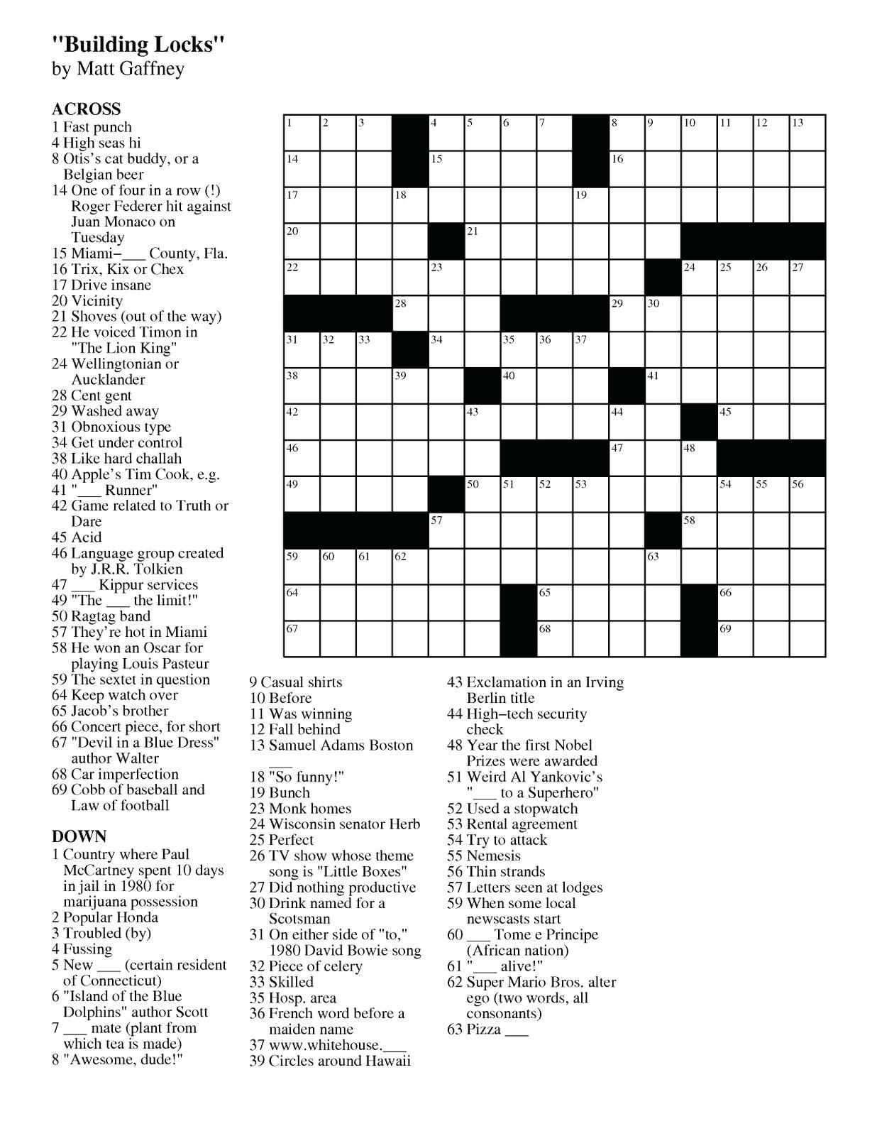 Easy Crossword Puzzle Printable – Loveisallaround.club - Printable Crossword Puzzles Beginners