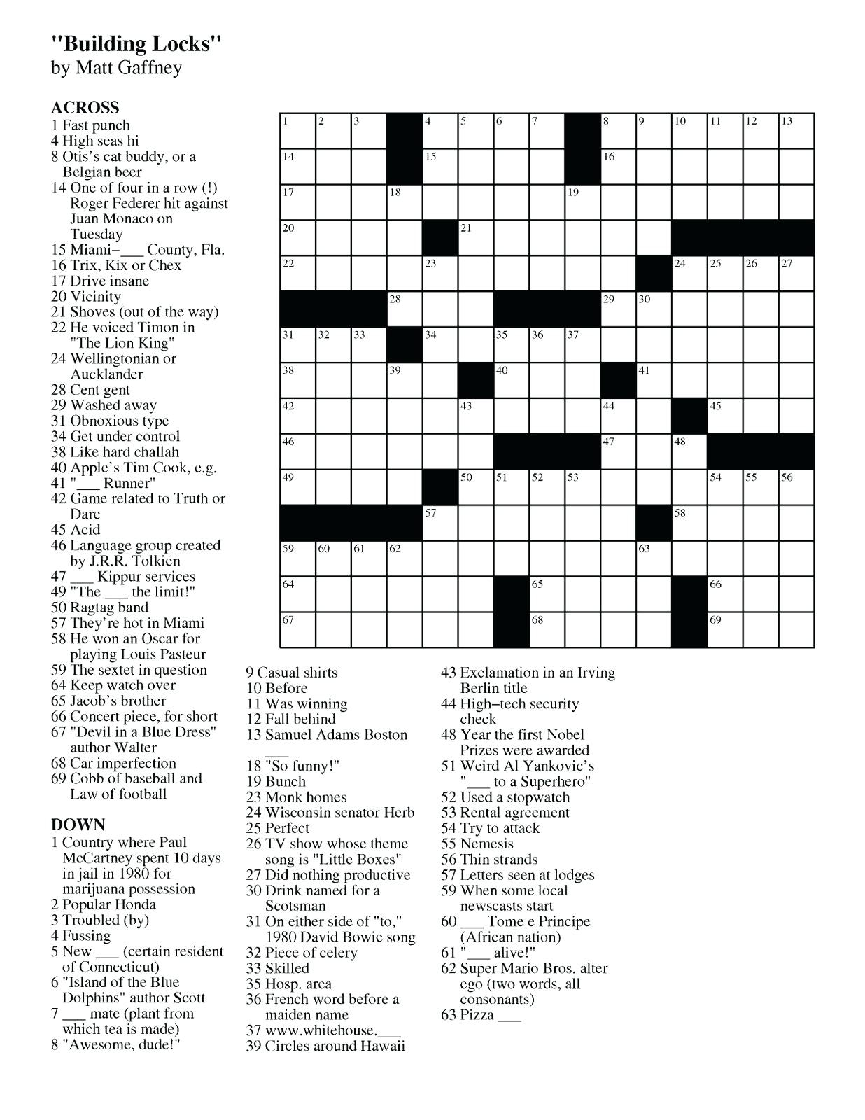 Easy Crossword Puzzle Printable – Loveisallaround.club - Printable Diy Crossword Puzzles