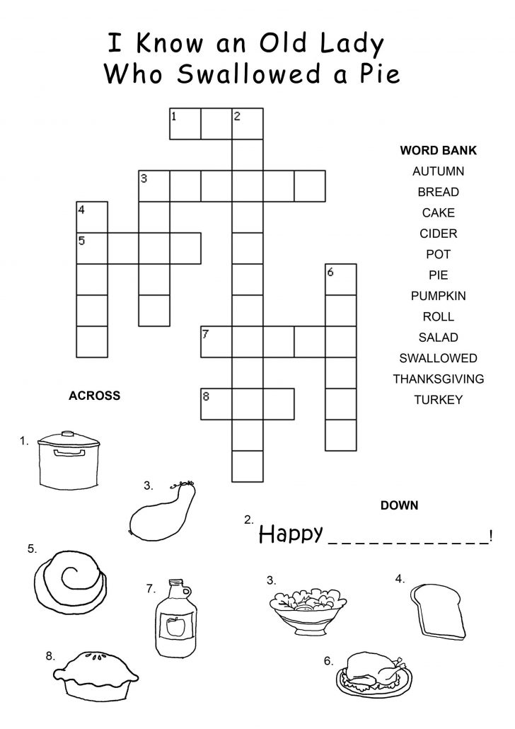 Crossword Puzzles For Kindergarten Free Printable
