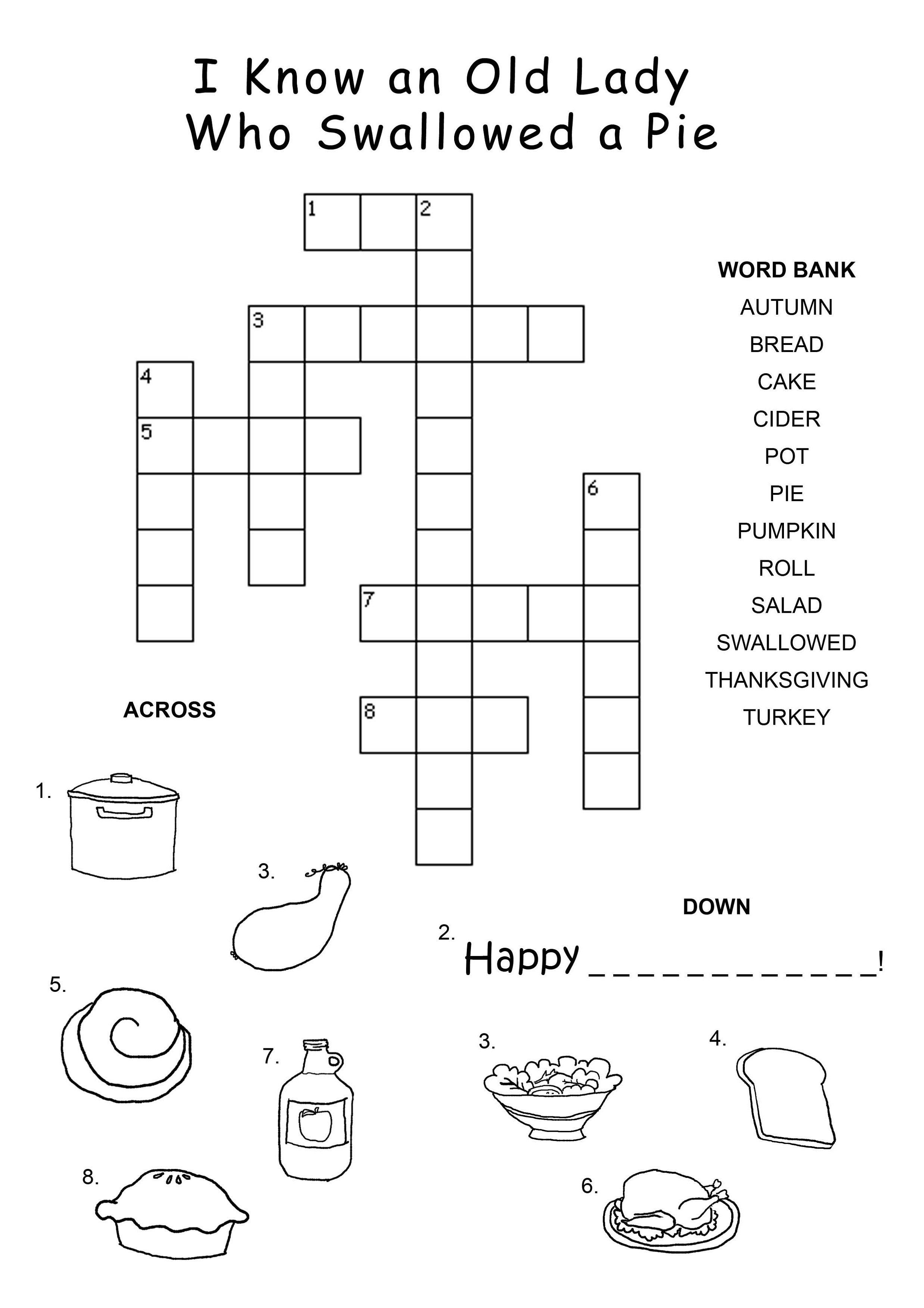 Easy-Crossword-Puzzles-For-Kids-Happy | Ot Fun | Thanksgiving - Crossword Puzzles For Kindergarten Free Printable