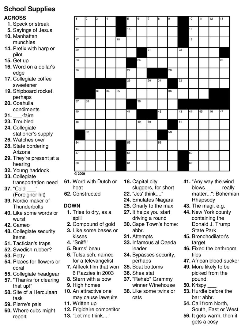 Easy Crossword Puzzles For Seniors Practice » Printable Coloring - Printable Crossword Puzzles 2009