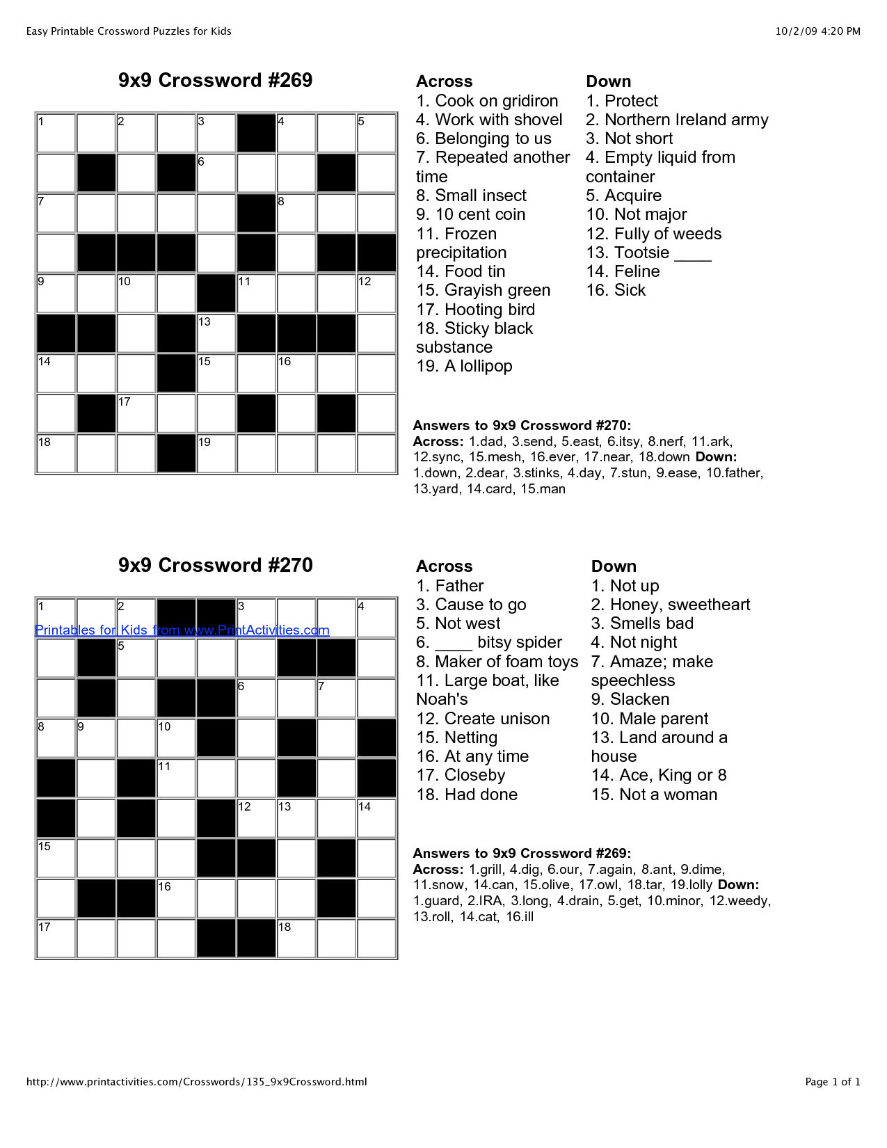 Easy Crossword Puzzles | I'm Going To Be An Slp! | Kids Crossword - Printable Crossword Solutions