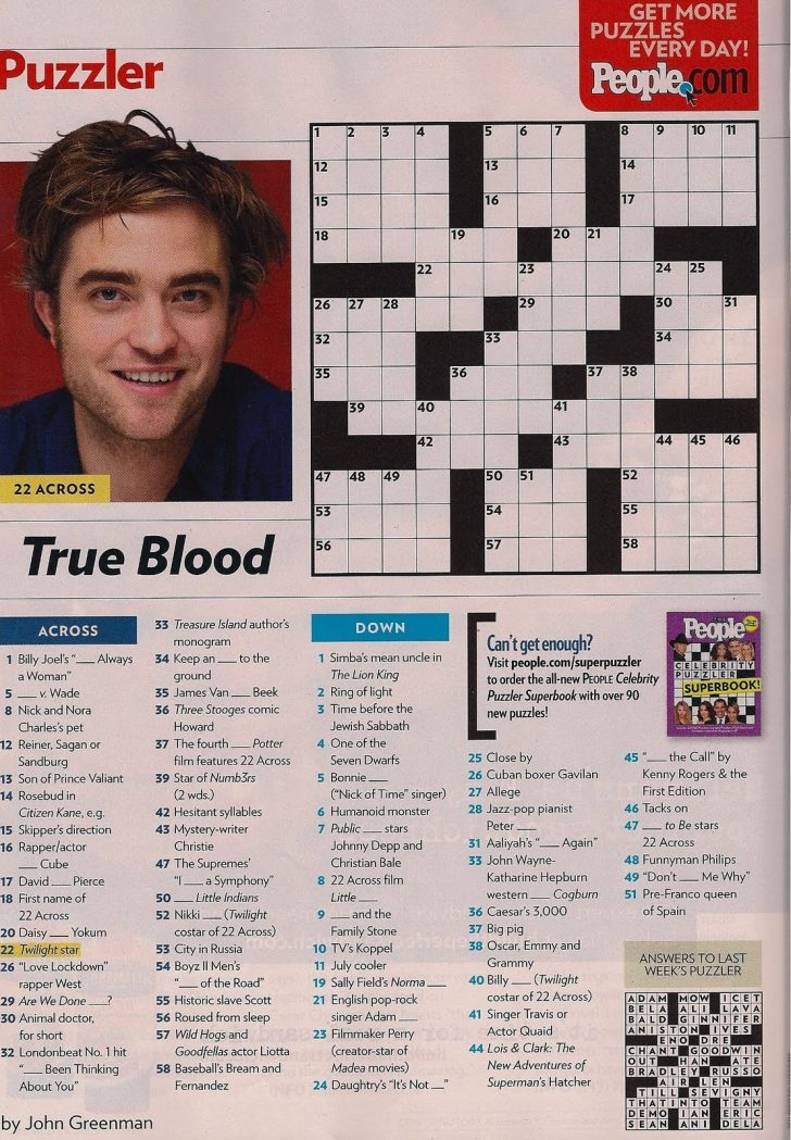 Printable People Magazine Crossword Puzzles