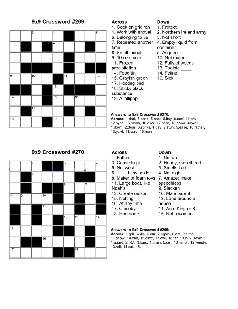 Easy Crossword Puzzles Printable With Answers - 14.12.kaartenstemp - Printable Junior Crossword Puzzles