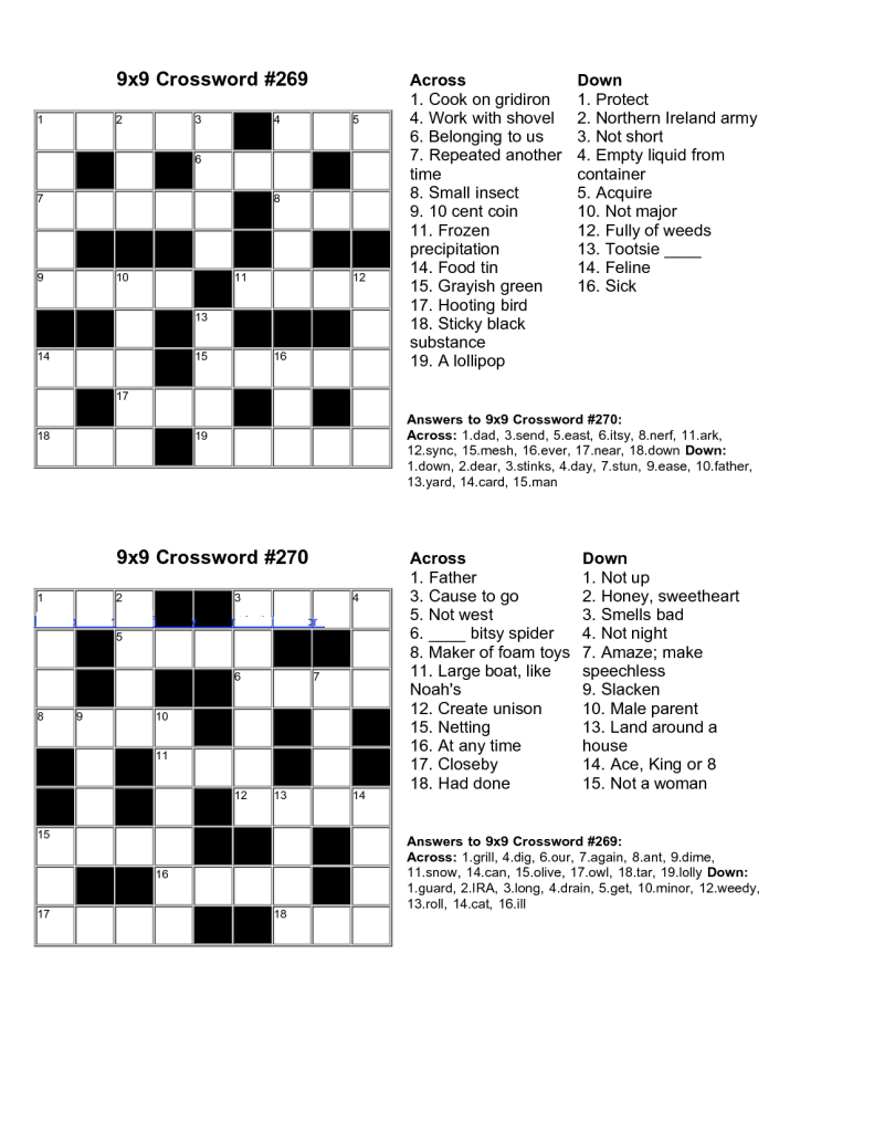 Easy Kids Crossword Puzzles | Kiddo Shelter | Educative Puzzle For - Crossword Puzzle Easy Printable With Answer