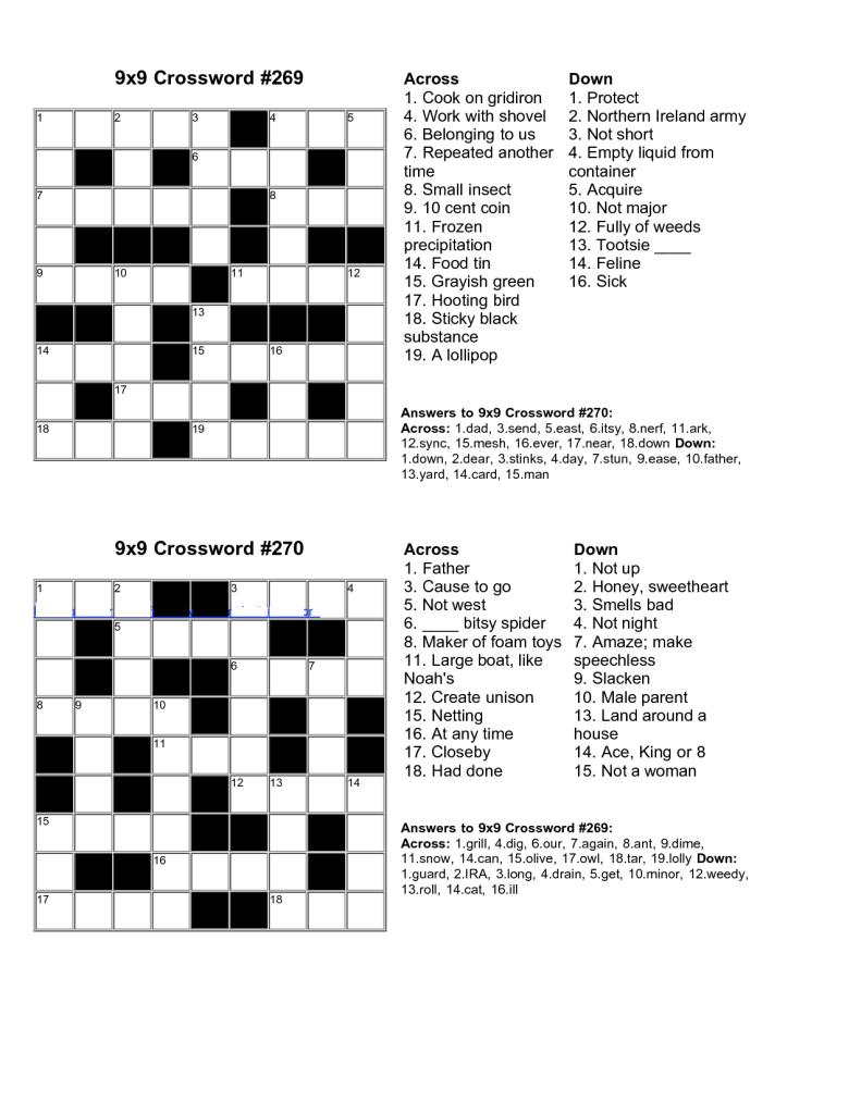 Easy Kids Crossword Puzzles | Kiddo Shelter | Educative Puzzle For - Printable Crossword Puzzle With Answers