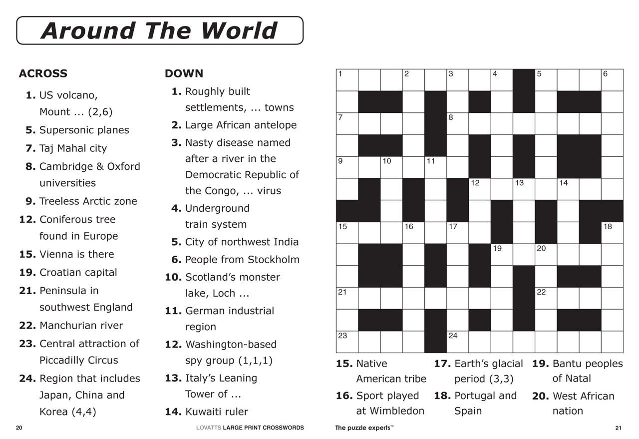 Easy Large Print Crossword Puzzles Printable Easy Crosswords To - Printable Crossword Puzzles Nz