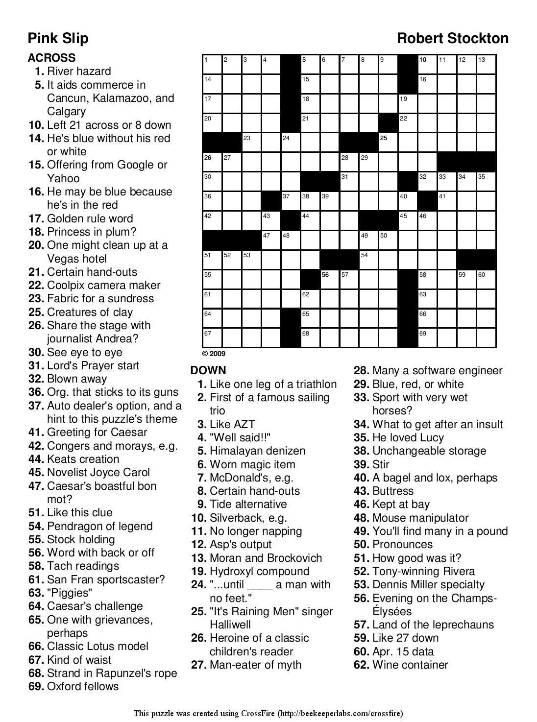 Easy Printable Crossword Puzzels - Infocap Ltd. - Printable Crossword Puzzles For Teens