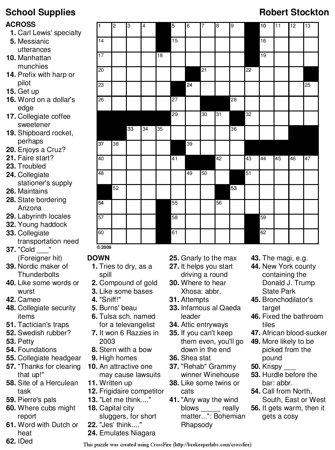 Easy Printable Crossword Puzzles | Crosswords Puzzles | Printable - Printable Crossword Puzzle Book Pdf