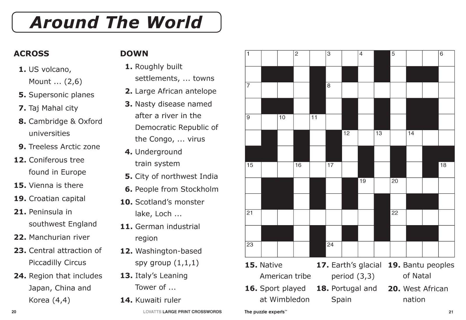 Easy Printable Crossword Puzzles   Elder Care & Dementia Care - Printable Entertainment Crossword Puzzles