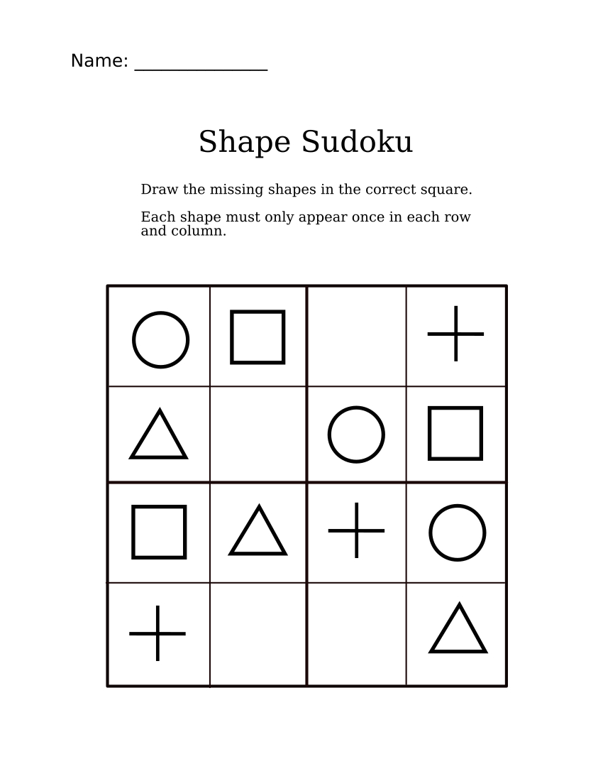 Easy Shapes Sudoku For Kindergarteners | Sudoku For Littles | Sudoku - Printable Puzzle Games Pdf