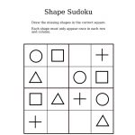 Easy Shapes Sudoku For Kindergarteners | Sudoku For Littles | Sudoku   Printable Puzzles For 4 Year Olds