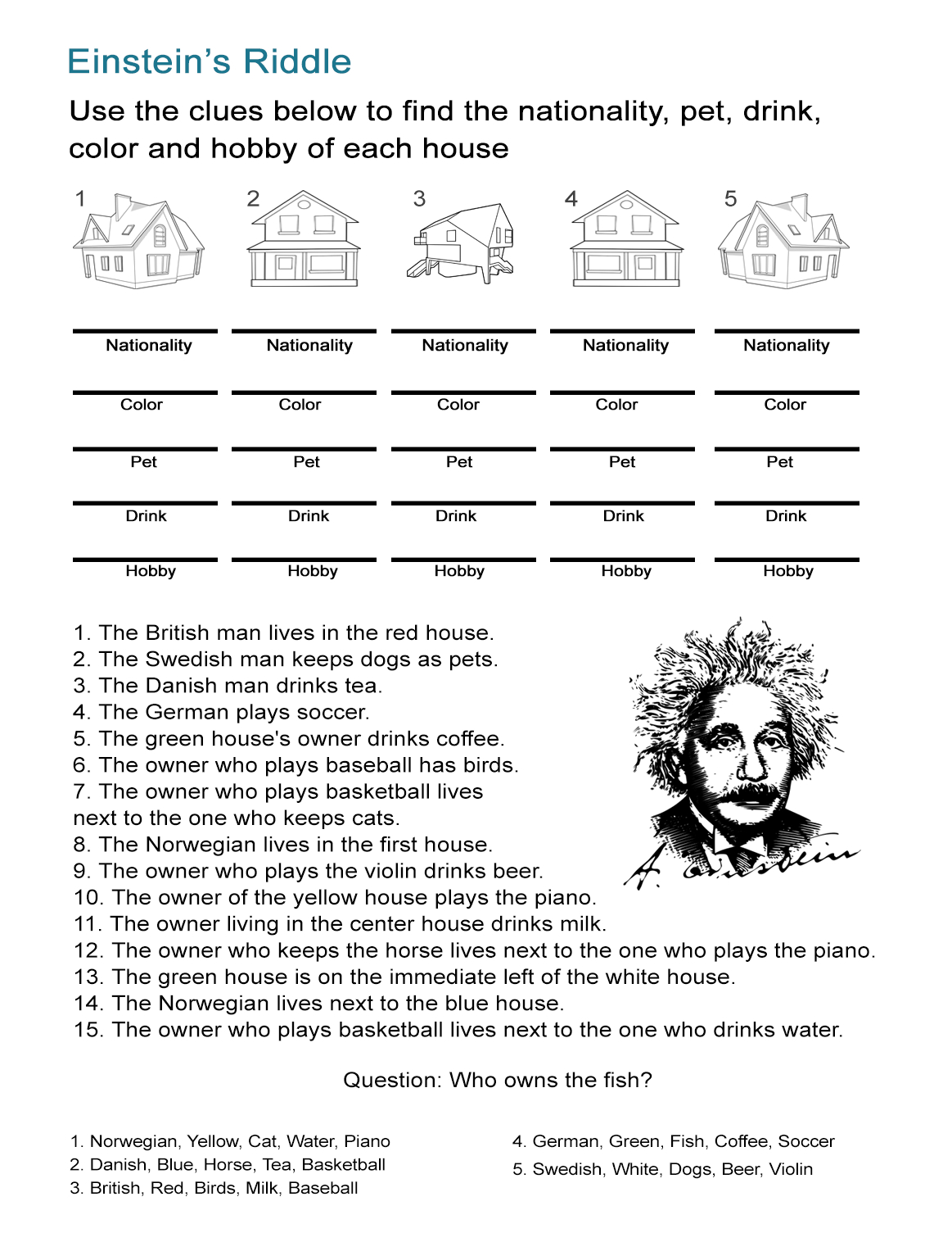 Einstein's Riddle: Detective-Style Logic Activity - All Esl - Printable Einstein Puzzles