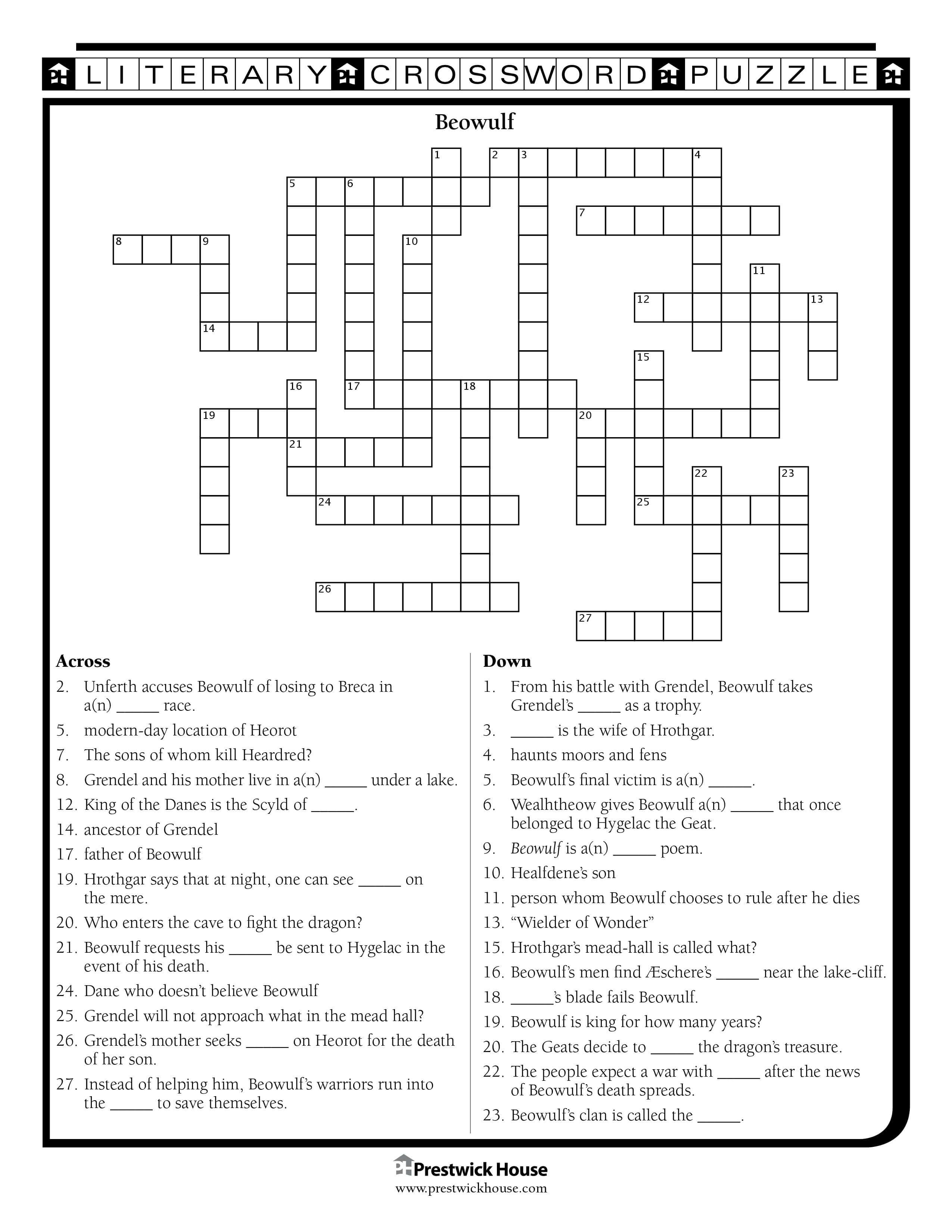 English Teacher's Free Library | Prestwick House - Printable Beowulf Crossword Puzzle