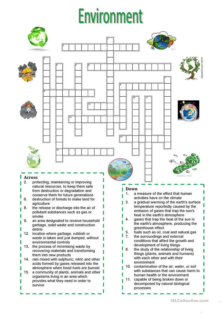 Environment - Crossword Puzzle Worksheet - Free Esl Printable - Grade 1 Crossword Puzzles Printable
